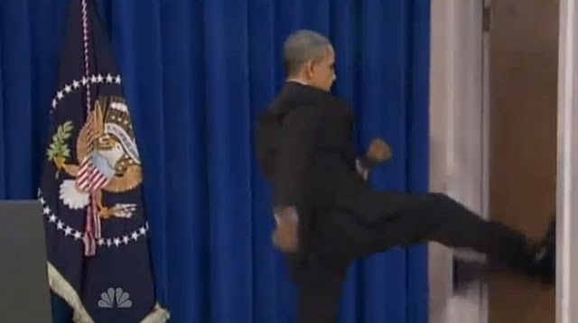 Angry President Obama vs. Kicks Door Open Leaving Press Conference 2