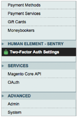 Figure 1. Two-Factor Auth Settings selection.