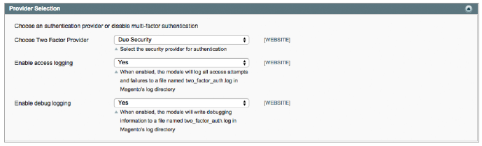 Figure 2. Two-factor authentication selection.