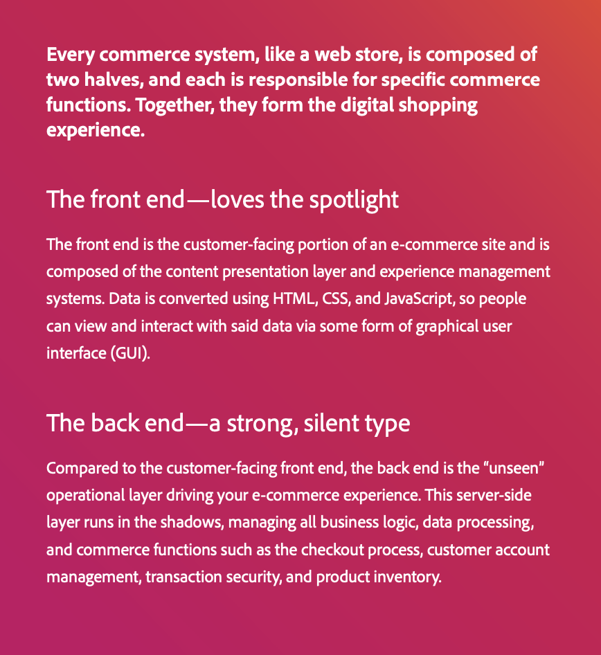 Differences between front end and back end of every commerce system