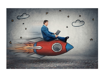 man riding rocket ship with drawn clouds in background
